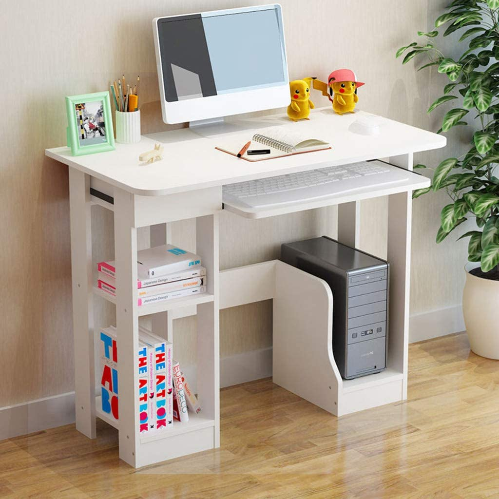 OKBOP Desktop Home Computer Desk with Storage Shelves Keyboard Tray, White Small Office Desk, Modern Writing Desk Wood Student Study Table Notebook Workstation (White)