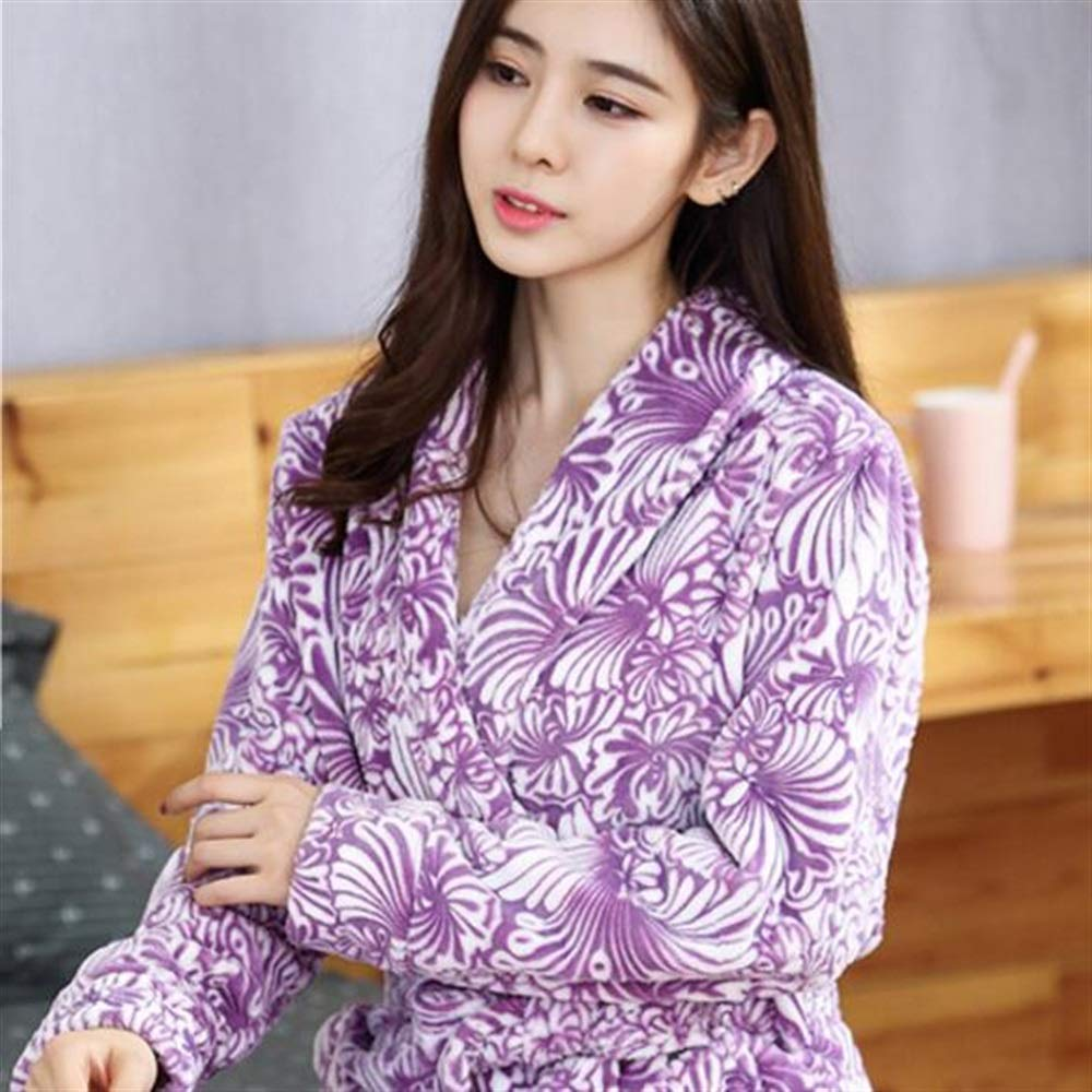 Color : Purple, Size : M Towelling Bath Robe Long-Type Flannel Printed Bathrobe Couple Bathrobe Warm Nightgown Winter Pajamas-Purple Wrap Nightwear