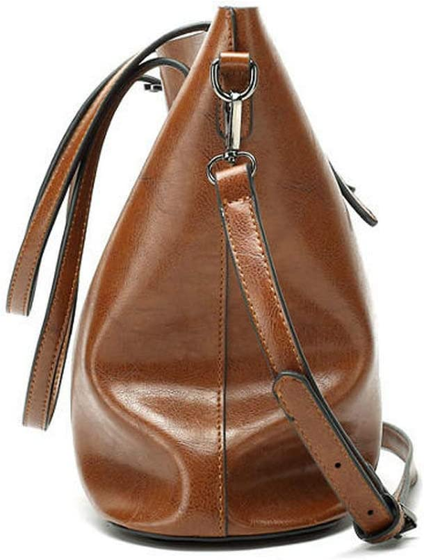 JXHJQY Women Oil Leather Tote Handbag Vintage Shoulder Bag Capacity Big Shopping Tote Crossbody Bag Color : Color Pink, Size : OneSize