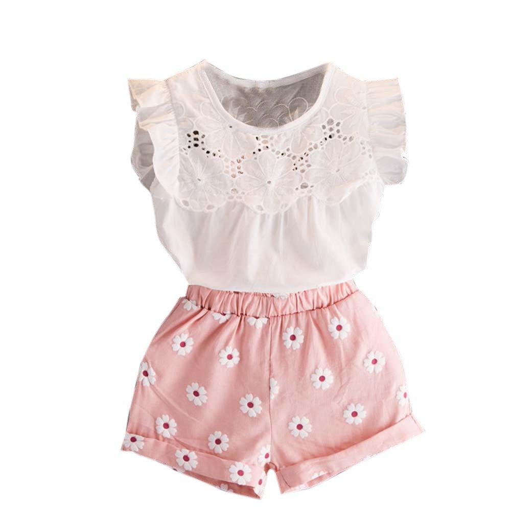 waitFOR Completi Floreale Bambina 2 Anni a 7 Anni Set Top e Pantaloncini Bambino Vestito Bambina Elegante