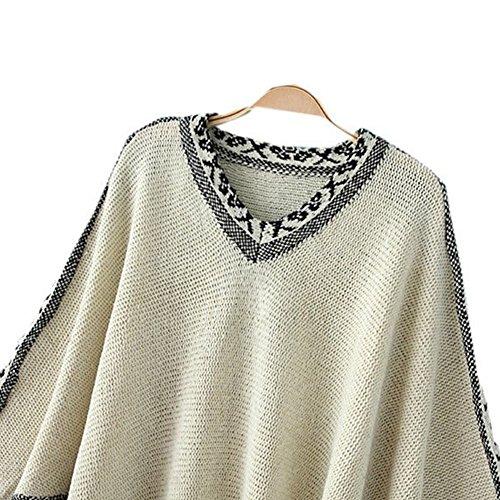 LOCOMO Tops (Luxury) - Poncho - para mujer FFJ070 Beige Jacquard