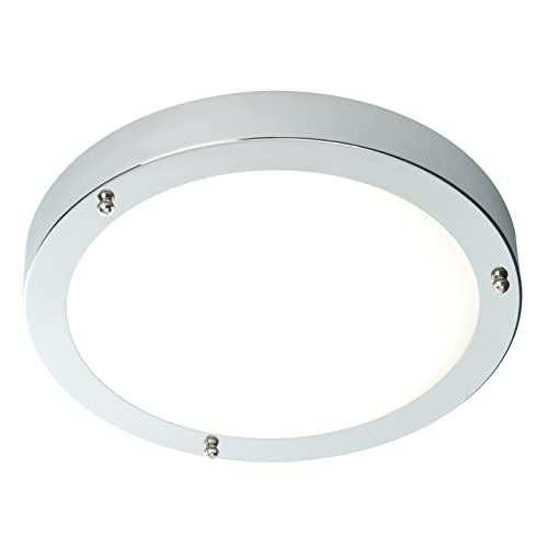 Saxby Portico 60W 300mm Dimmable Chrome Plated IP44 Flush Bathroom Ceiling  Light