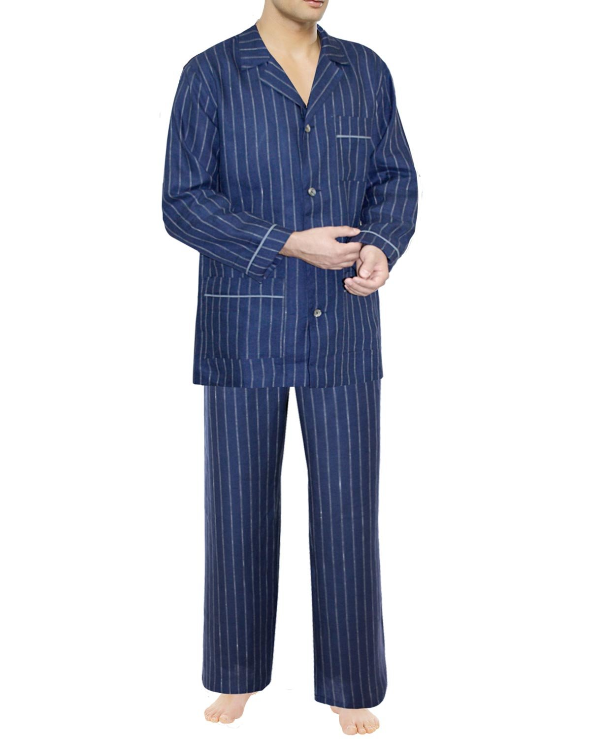 Armani International Alexander Linen Pajamas Large Blue-Pinstriped White