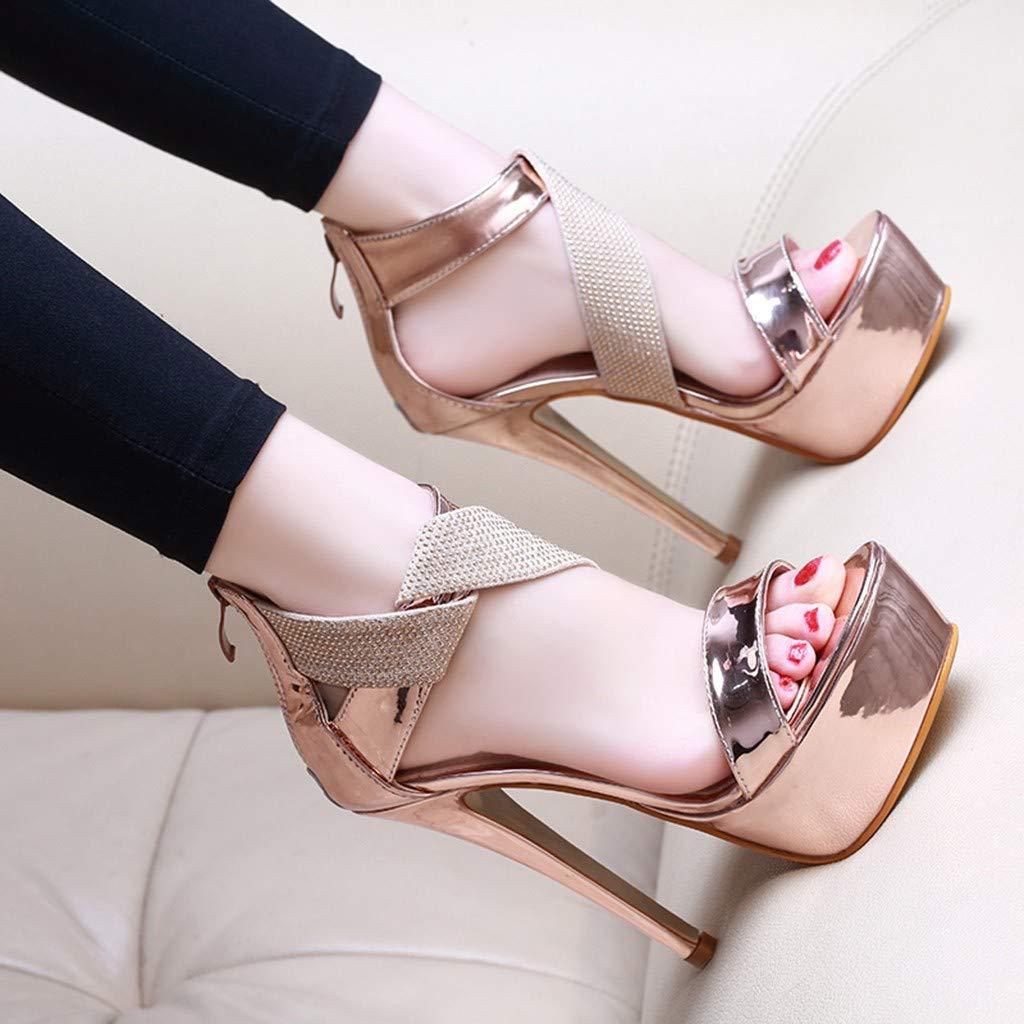 Orangeskycn Women Sandals Slip Pointed Toe Super High Heel Shoes Buckle Strap Gladiator Party Wedding Sandals Gold by Orangeskycn Women Sandals (Image #2)