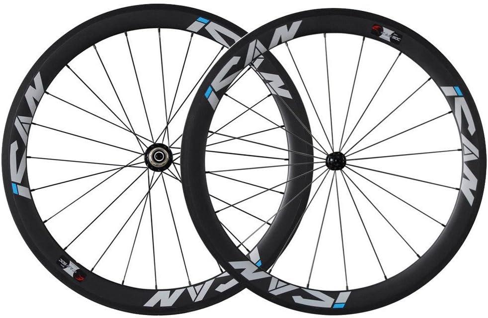 ICAN Ruedas de Carbono para Bicicleta de Carretera de 50 mm 700 C ...