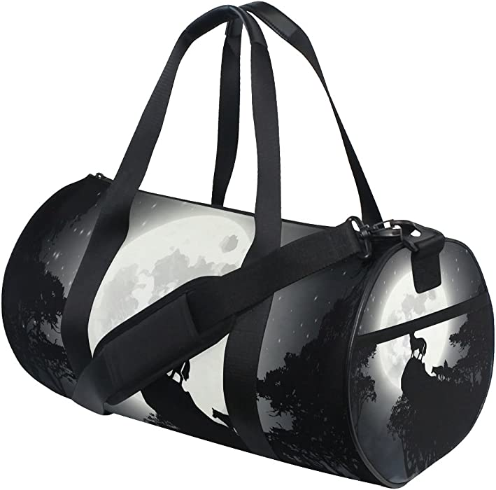 8257755abb JSTEL Tree Wolf Moon Night Sports Gym Bag for Women and Men Travel Duffel  Bag