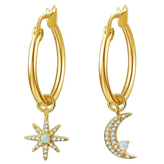 Moon & Star Charms - Pendientes de aro para mujer, chapados en oro de 14 quilates con circonita cúbica y ópalo