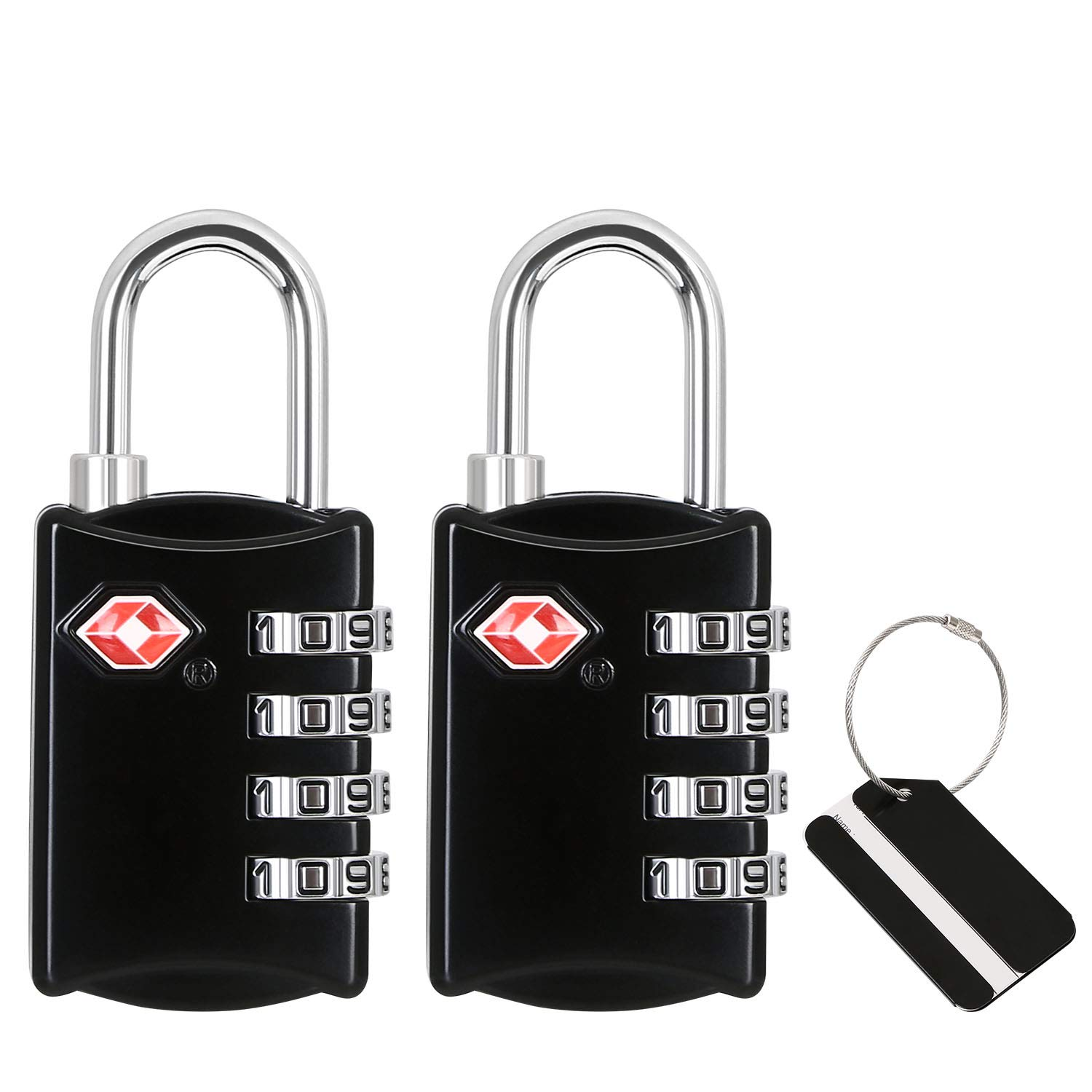 Outdoor Shed Lockers Gym 2PCS TSA Lock with Boarding Pass 4-Dial Security Padlock Combination Code Lock for Suitcases Bags flintronic® Travel Luggage Locks School