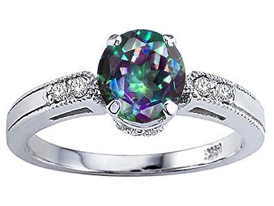 tommaso design round 7mm mystic rainbow topaz enement ring 14kt - Topaz Wedding Ring