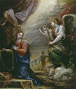 'Rizi Francisco The Annunciation Ca. 1665 ' oil painting, 16 x 19 inch / 41 x 47 cm ,printed on Perfect effect canvas ,this Vivid Art Decorative Prints on Canvas is perfectly suitalbe for dining Room decor and Home artwork and Gifts