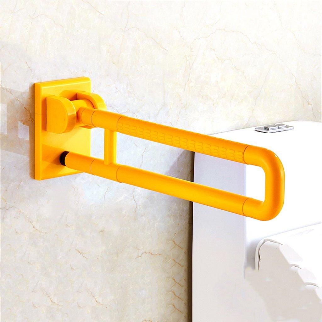 JNYZQ Faltbare Handlä ufe fü r die ä ltere Toilette zugä ngliches Badezimmer WC Haltestange Behinderte Edelstahl Sicherheitsarmlehne (Farbe : Gelb, grö ß e : 60cm)