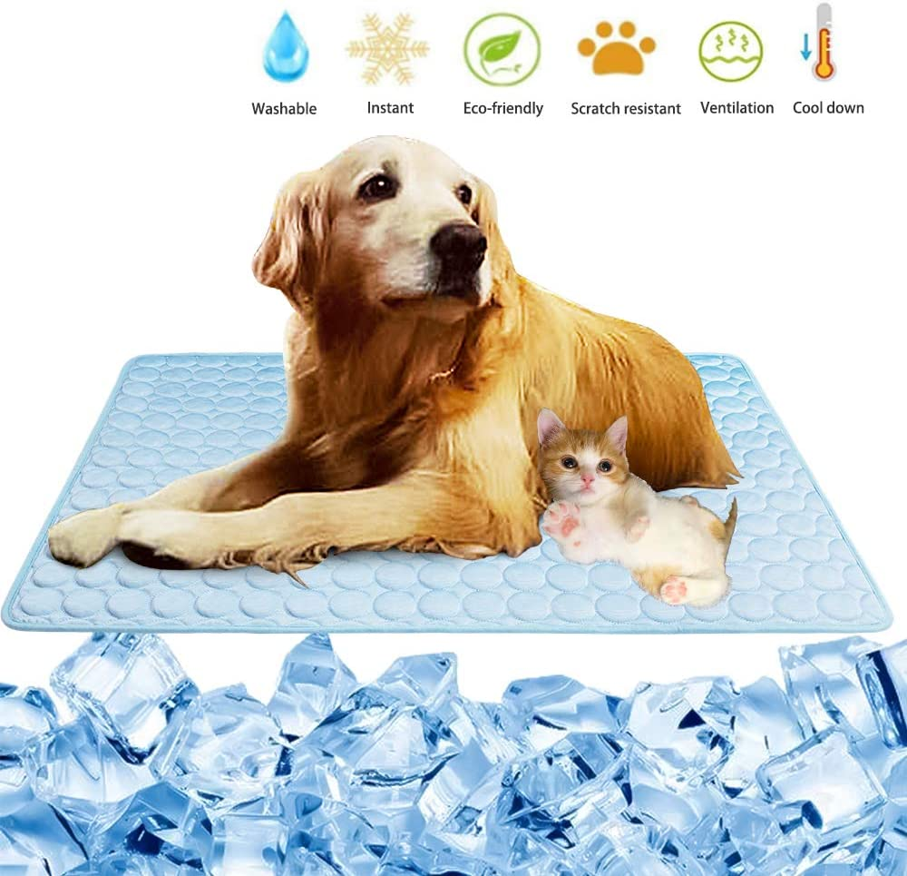 Summer Cooling Mat for Dogs Cats Pet Cool Pad Ice Silk Sleep Mat Washable Cooling Blanket Cushion for Kennel Sofa Bed Floor Car Seats Travel