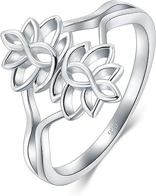 Amazon.com: BORUO Anillo de plata de ley 925, flor de loto ...
