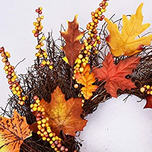 Artificial Sunflower Pumpkin Pinecone and Maple Leaf Wreath with Berry Lights for Halloween and Thanksgiving Home Indoor or Outdoor Arrangement Decoration 5