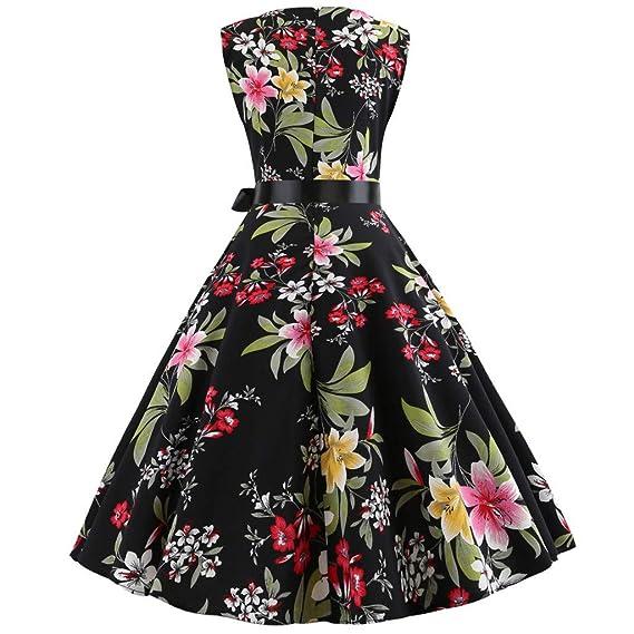 Soupliebe Vestido Las Mujeres Falda Vestido Vintage de Adelgazamiento flord Falda Falda Vestidos sin Mangas de impresión Vestido de una Pieza de Trabajo ...