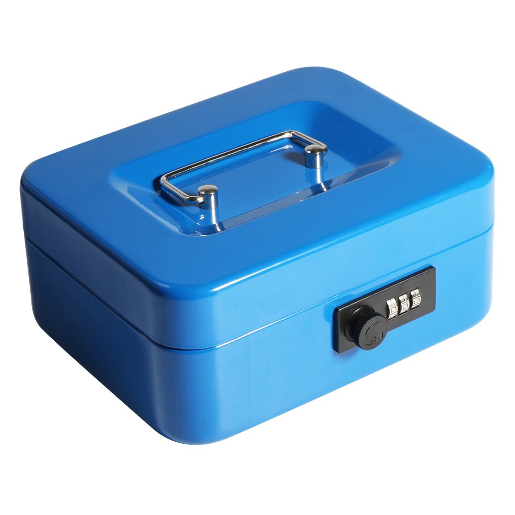 Decaller Cash Box with Combination Lock, Safe Metal Small Locking Box with Money Tray, 7 4/5'' x 6 4/5'' x 3 3/5'', Blue, QH2005S