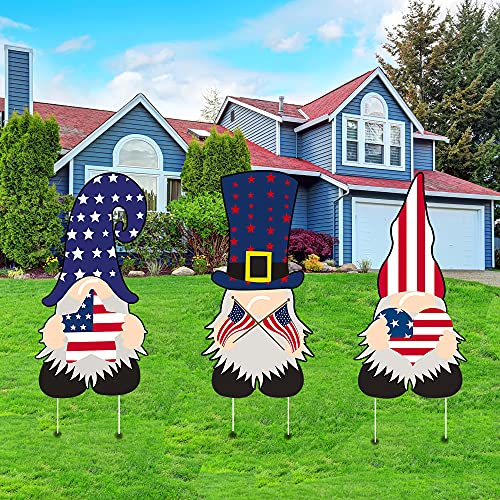 LAUJOY Patriotic Gnomes Yard Signs with Stake 4th of July, Independence Day Sam Gnome Outdoor Decoration for Garden Lawn Patio Porch, American Yard Sign for Veteran Memorial Day 3 Packs