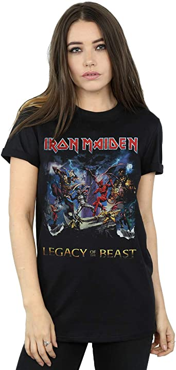 Iron Maiden Number Of The Beast Womens Plus Black Scoop Neck Shirt New Official