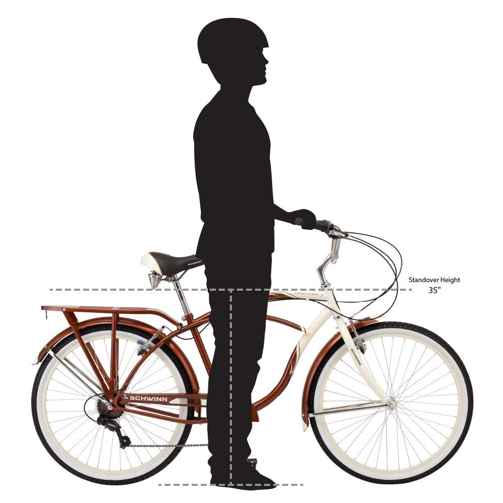 Schwinn Men's Sanctuary 7-Speed Cruiser Bicycle (26-Inch Wheels), Cream/Copper, 18 -Inch by Schwinn (Image #6)