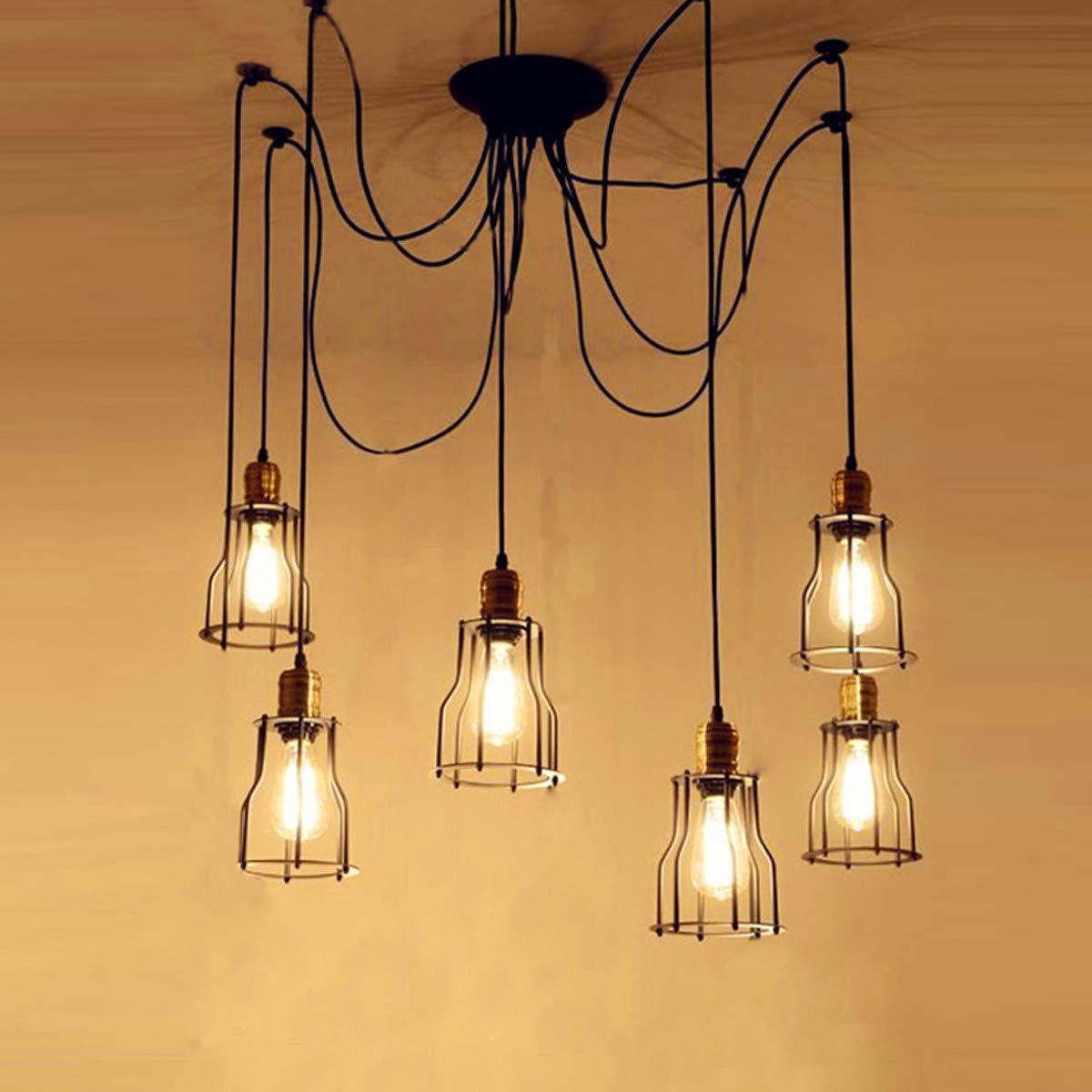 NANGE Vintage Chandelier,Edison Multiple Adjustable DIY Metal Wire Cage Pendant Lighting,Modern Chic Industrial Dining Light,E27(Without Light Source) (Color : Warm White, Size : AC 220V) by NANGE (Image #4)