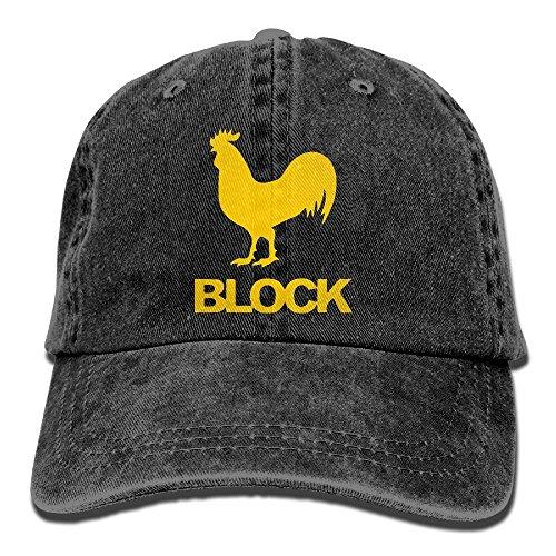 Men's Or Women's Cock Block Cotton Denim Baseball Hat Adjustable Street Rapper Hat ()