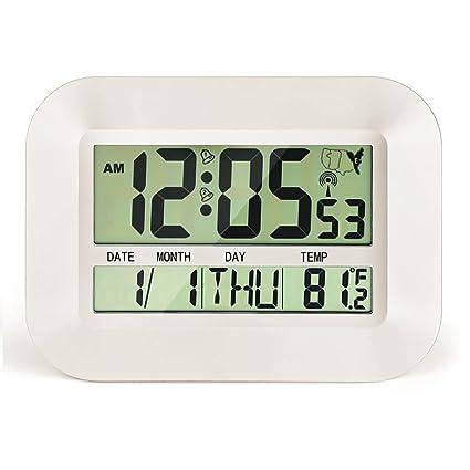 CIGERA Reloj digital atómico de 28 cm con alarma dual, zonas ...
