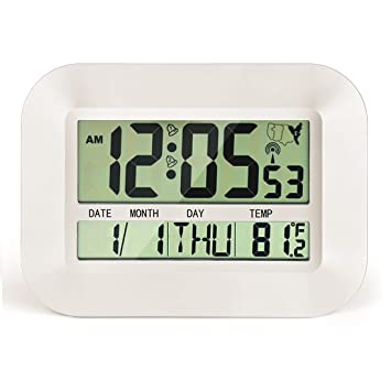 CIGERA Reloj digital atómico de 28 cm con alarma dual, zonas horarias, hora DST