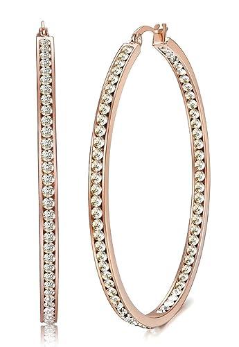 Jstyle Joyería en Acero Inoxidable Oro Rosa Pendientes Aro Grandes con Circonita Incrustada Diámetro 50MM