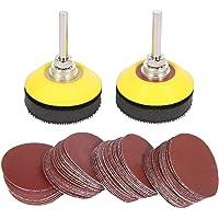 200 Pcs 2'' Sanding Discs Pad Kit with 1 Pcs 1/4'' Shank Backer Plate Including 80/180/240/320/400/600/800/1000/2000…