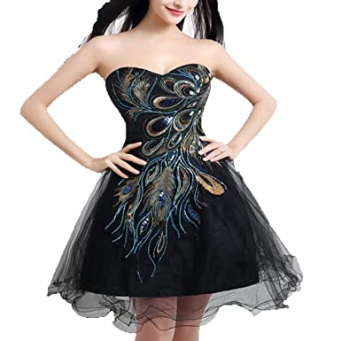 Diandiai Sweetheart Peacock Embroidered Short Black Homecoming Cocktail Prom Dress 2