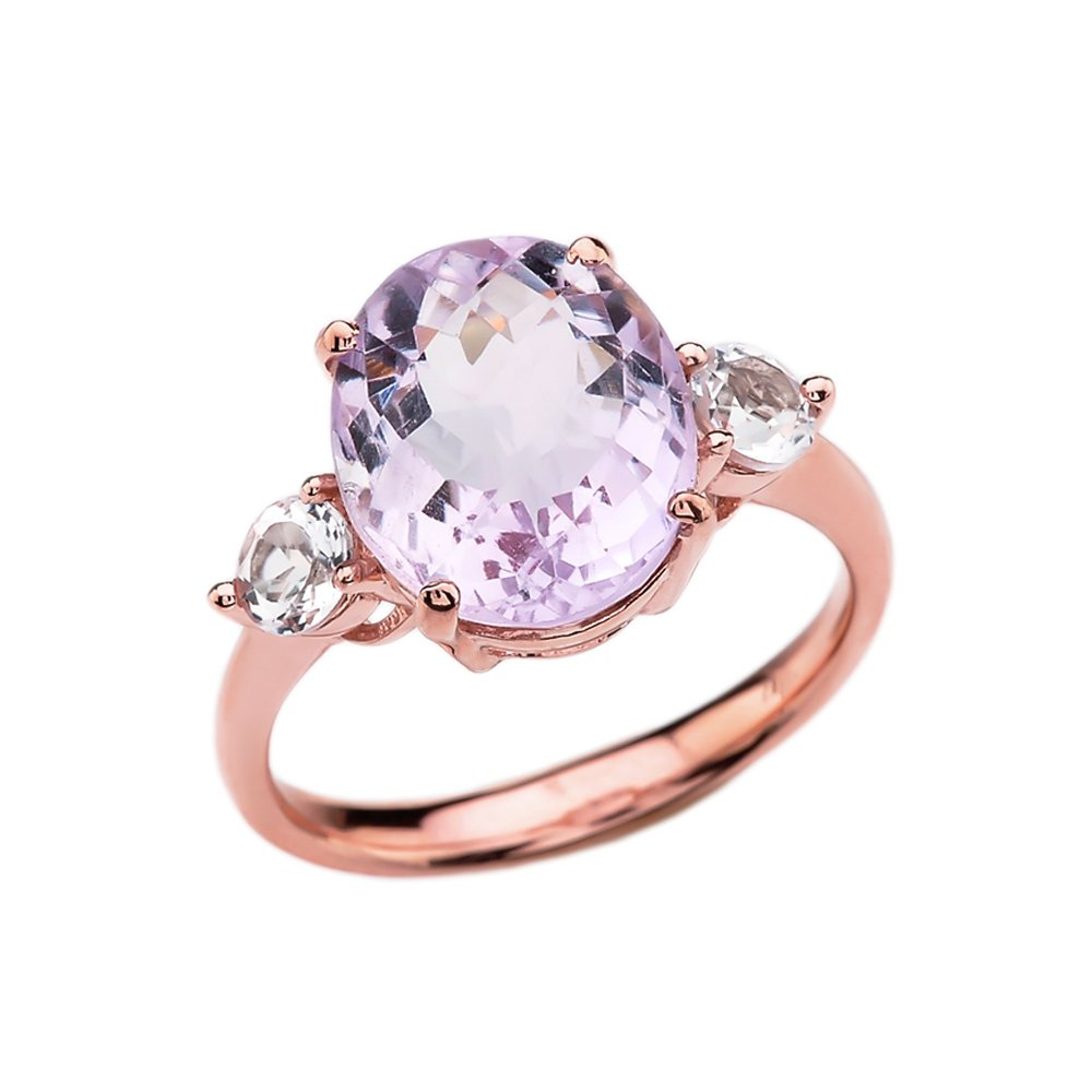 10k Rose Gold Pink Amethyst Modern Promise Ring With White Topaz Side-stones (Size 6.5)