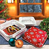 Pactogo Red Holiday Christmas Square Cake Aluminum Foil Pan w/Clear Dome Lid Disposable Baking Tins (Pack of 100 Sets)