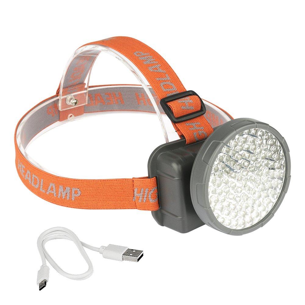 100 LEDs UV Schwarzlicht Stirnlampe, Kopflampe USB Wiederaufladbar 2 Modi mit Schwarzlich Weißlicht, Ideal für Camping Wandern Angeln B13