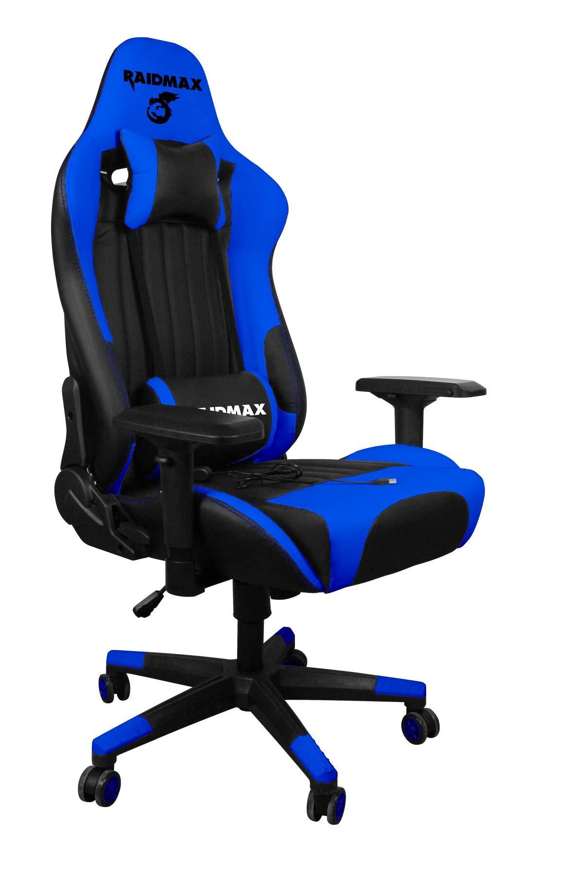 Drakon Gaming Chair Ergonomic Racing Style Pu Leather Bucket Seat, Headrest and Massage Lumber Support, 4D Adjustable Armrest (Blue/Black) by Drakon