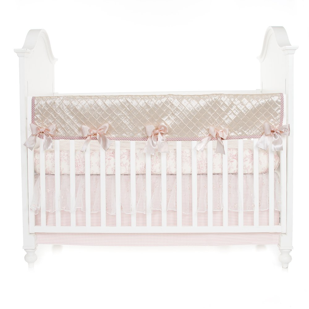 Glenna Jean Cottage Collection Rose Convertible Crib Rail Protector, Pintuck, Long