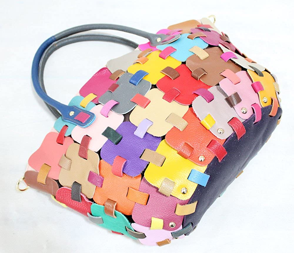 Womens Genuine Cowhide Leather Handbag Puzzles Pattern Knits Tote Bag