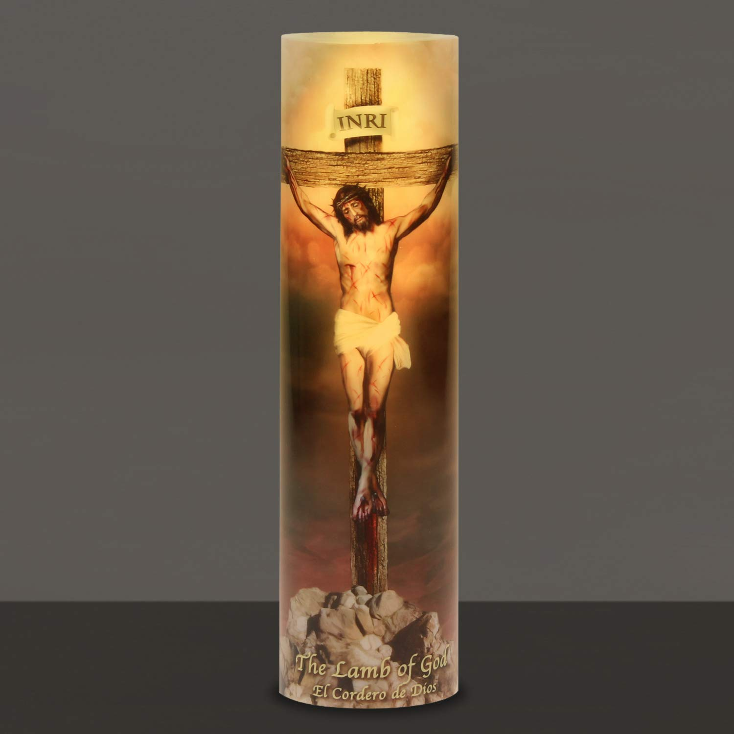 The Lamb of God, LED Flameless Devotion Prayer Candle, 6 Hour Timer, Religious Gift The Saints Gift Collection C-8009