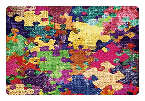 Lunarable Grunge Pet Mat for Food and Water, Grunge Illustration with Colorful Jigsaw Puzzles Stationery Design Print, Rectangle Non-Slip Rubber Mat for Dogs and Cats, Fuchsia Green
