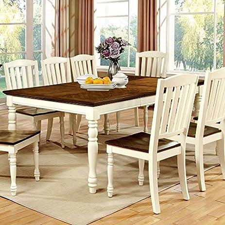 Harrisburg Cottage Style Dark Oak And Vintage White 9 Piece Dining Table Set