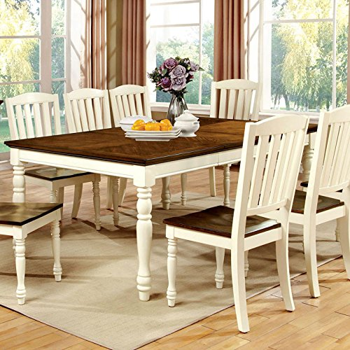 Harrisburg Cottage Style Dark Oak and Vintage White 9-Piece Dining Table Set