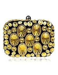 Womens Colorful Rhinestone Crystal Purse Formal Dress Handbag Clutch Evening Bag