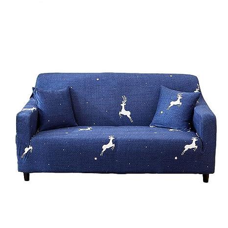 CHYOOO Funda De Sofa Sofá Retráctil Azul Oscuro con ...