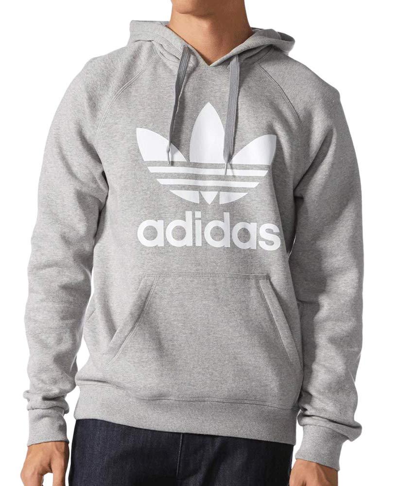 adidas Originals Men's Trefoil Hoodie, Medium Grey Heather/White, X-Small by adidas Originals