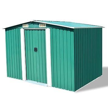 Chloe Rossetti cobertizo de almacenamiento de metal verde para jardín, tamaño con techo: 101