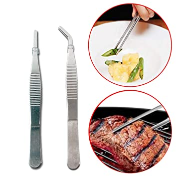 Plating Chef Kitchen Tool Stainless Steel  Barbecue Tongs BBQ Clip Food Tweezer