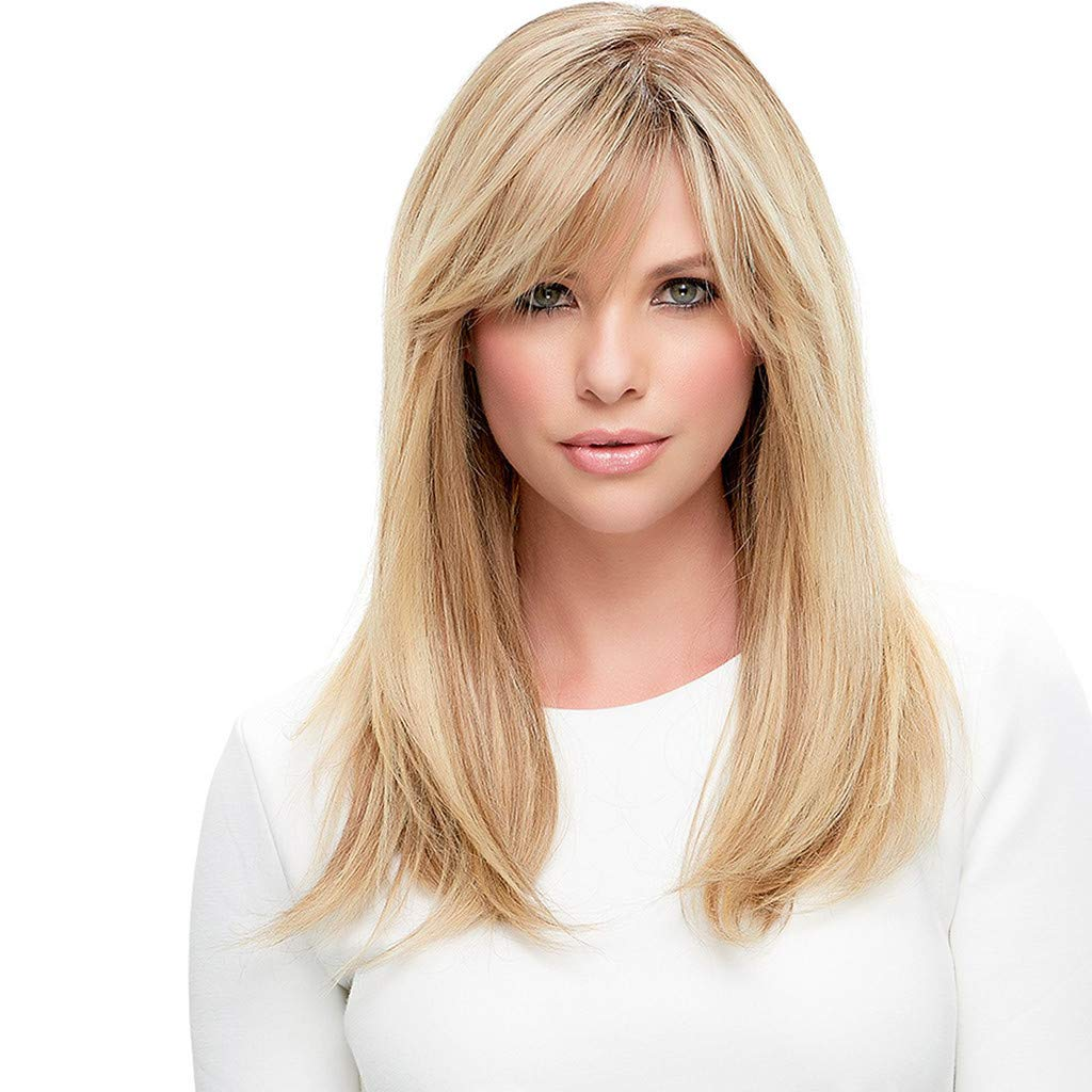 Young Girl Fashion Blonde Wig Women's Short Bob Medium Straight Full Wigs With Bangs Synthetic Hairpieces 17.7 inch
