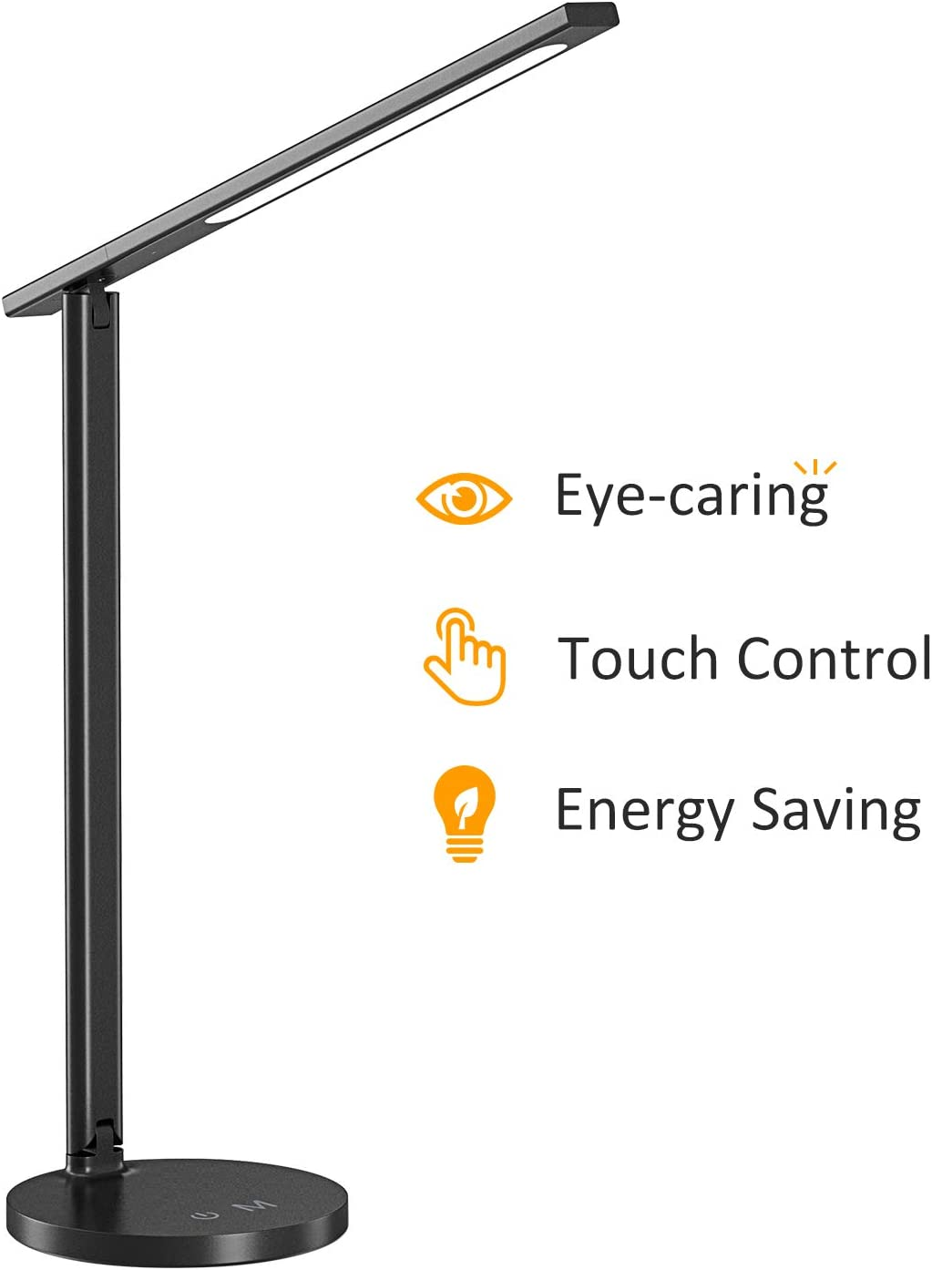 LED Desk Lamp, STOON Eye-Caring Aluminum Alloy Reading Lamp with 3 Color Modes 3 Brightness Levels for Kids Adult, Folding Dimmable Office Table Lamp, Touch Control, 5V 7W, Black