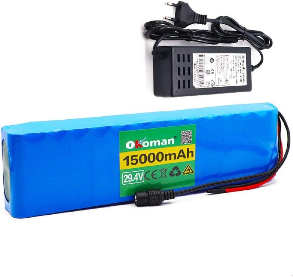 Batería de Bicicleta eléctrica 7s4p 24v 15ah Bicicleta eléctrica Scooter Paquete de batería de Iones de Litio 18650 Baterías Recargables BMS + Cargador de 29.4v