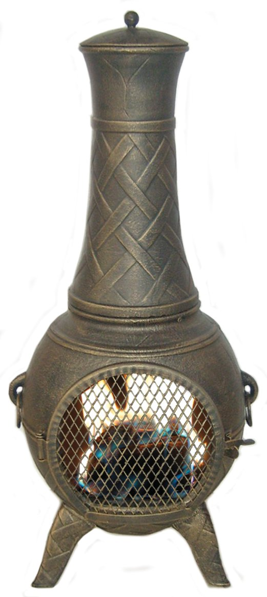 Deeco CP DM6035J-AA Western Basket Weave Jr. Chiminea with Cast Aluminum, Spark Guard Screen by Deeco CP