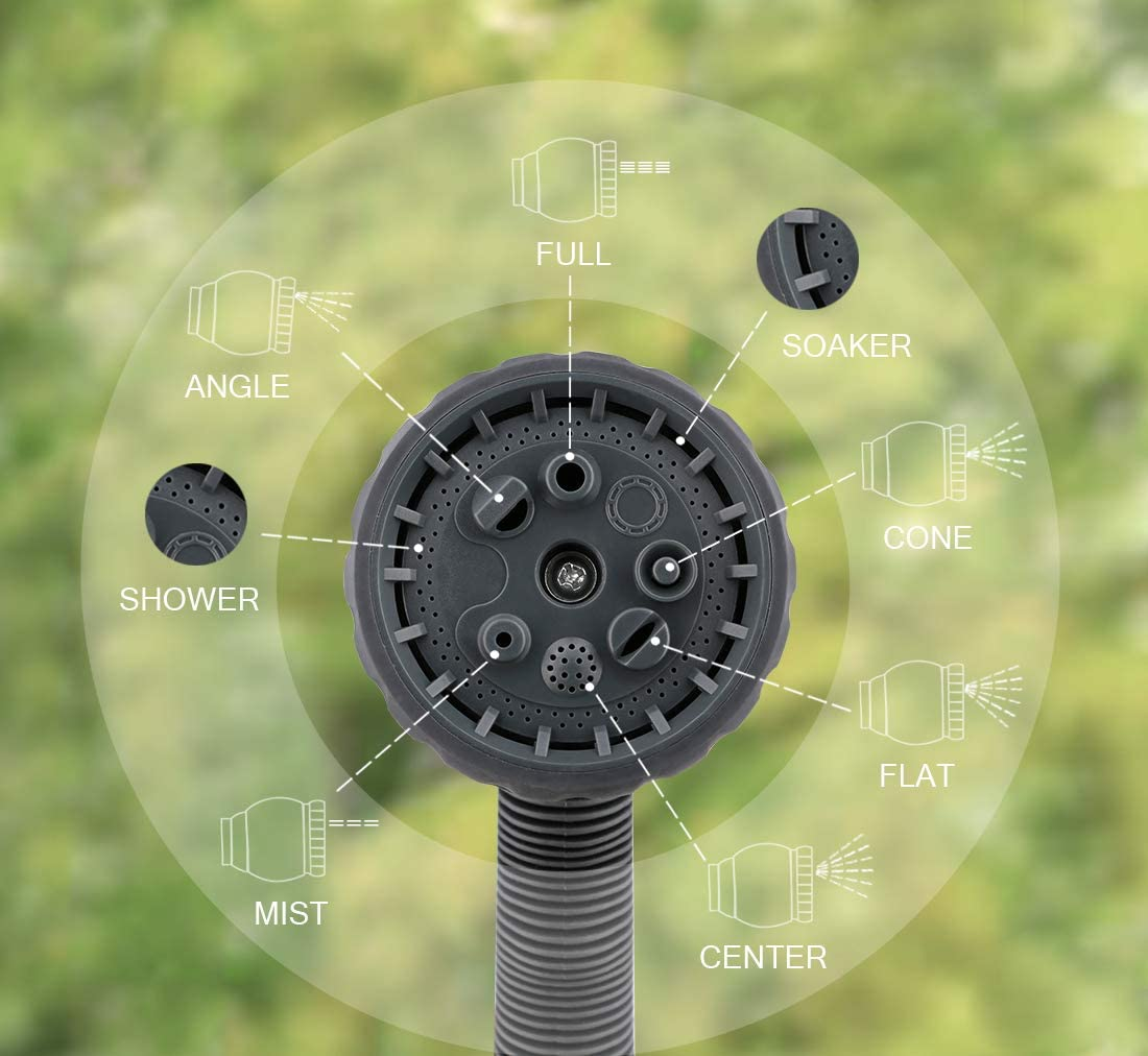 kattool Garden Hose Nozzle Adjustable 8 Patterns Water Hose Spray Nozzle with Flow Control for Watering Lawns Plants Floors